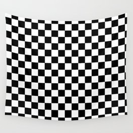 Black and White Check Pattern Wall Tapestry