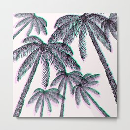 Tropical Palm Trees in Pink Teal Black Metal Print