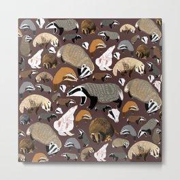 Eurasian badgers pattern Maroon Metal Print