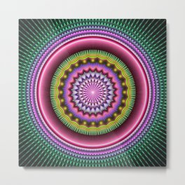 Bursting with Energy Mandala, colourful fractal patterns abstract Metal Print