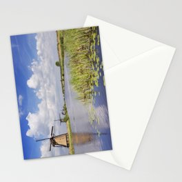 Traditional Dutch windmills on a sunny day at the Kinderdijk Stationery Cards