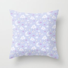 Cute moon and clouds Throw Pillow