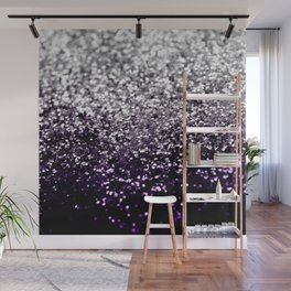Dark Night Purple Black Silver Glitter #1 #shiny #decor #art #society6 Wall Mural