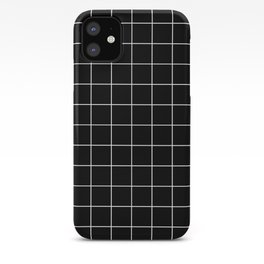 Grid Pattern Line Stripe Black and White Minimalist Geometric Stripes Lines iPhone Case