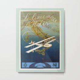 Vintage 1920s Island plane shuttle Italian travel Metal Print