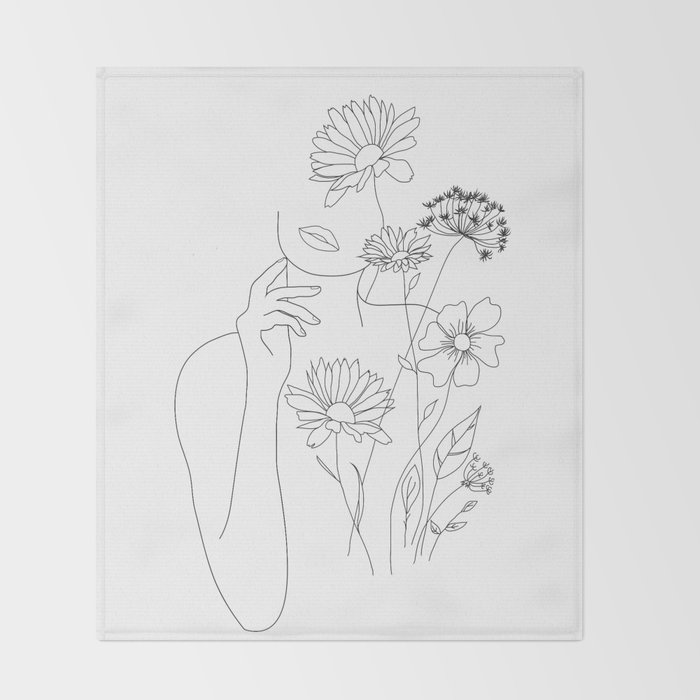 Minimal Line Art Woman with Flowers III Throw Blanket