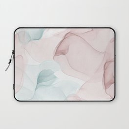 Blush and Blue Flowing Abstract Painting Laptop Sleeve