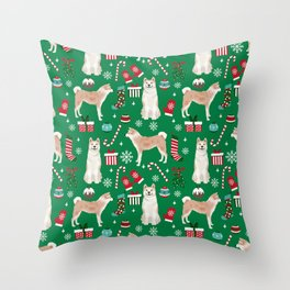Akita christmas dog breed pattern snowflakes mittens candy canes stockings Throw Pillow