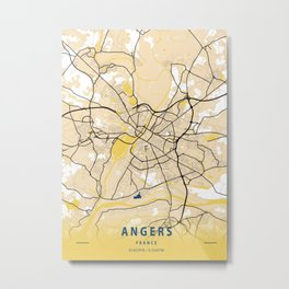 Angers Yellow City Map Metal Print