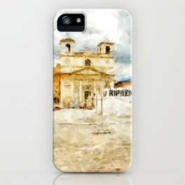 L'Aquila: square with church iPhone Case