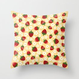 Sweet Strawberries - yellow Throw Pillow