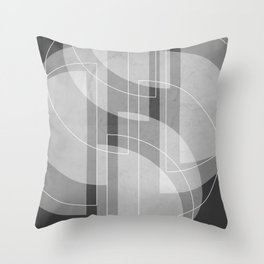 Abstract Semi Circle Design in Charcoal Gray Throw Pillow