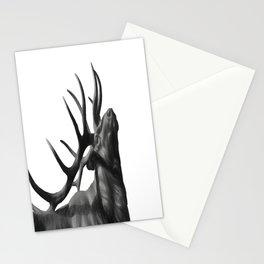 Elk in Black in White Stationery Cards