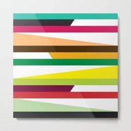 Geometric Pattern 73 (colorful stripes) Metal Print