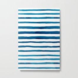 Watercolor Stripes in Classic Blue Metal Print