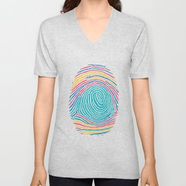 fingerprint color Unisex V-Neck