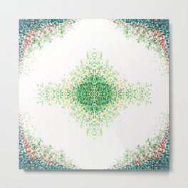 Floral Light Green Mosaic Pattern Metal Print