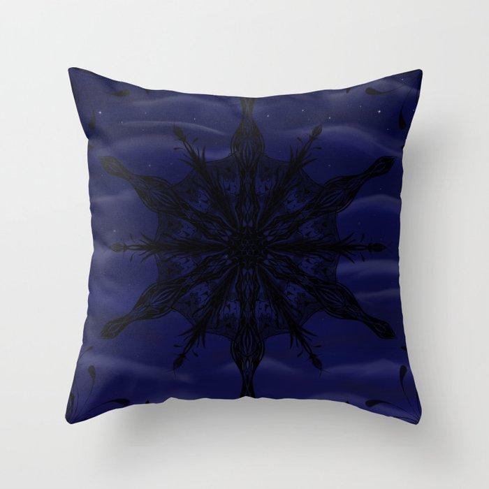 Gothic Snowflake Silhouette Throw Pillow