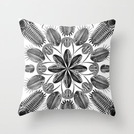 Trilobite and Fossil Mandala, Collage using Ernst Haeckel illustrations Throw Pillow
