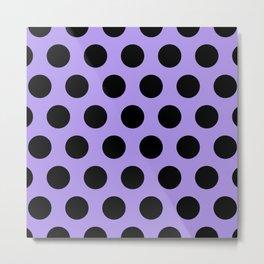 Mid Century Modern Polka Dots 550 Black and Lavender Metal Print