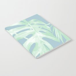 Tropical Leaves Luxe Pastel Sea Turquoise Blue Green Notebook