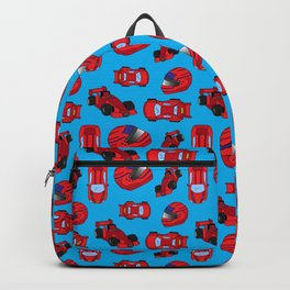 Red Motor Racing Sports Cars Racetrack Pattern Backpack