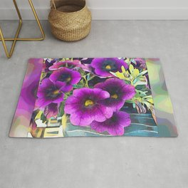 Purple planted Flowers Rug