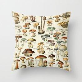Vintage Mushroom & Fungi Chart by Adolphe Millot Throw Pillow