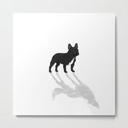 Wild At Heart - Black French Bulldog Metal Print