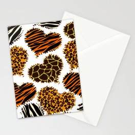 Heart Shaped Wild Animal Print Pattern Stationery Cards
