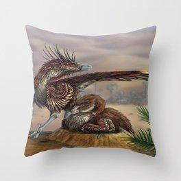 Brooding Velociraptors Throw Pillow