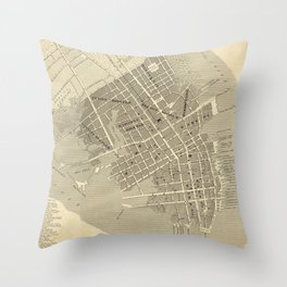 Vintage Map of Charleston South Carolina (1844) Throw Pillow