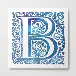 Letter B Antique Floral Letterpress Monogram Metal Print
