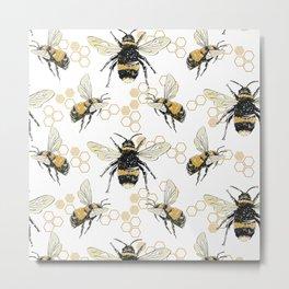 Bees an Honeycombs Metal Print