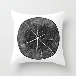 Detailed black and white inked tree stamp Throw Pillow