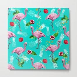 Tropical fruits among flamingos Metal Print