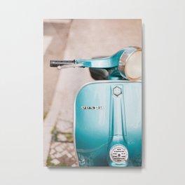 Blue Vespa Metal Print