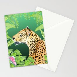Leopard in Jungle, Greens Background Stationery Cards
