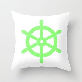 Ship Wheel (Light Green & White) Throw Pillow