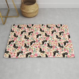 Doxie Florals - vintage doxie and florals gifts for dog lovers, dachshund decor, black and tan doxie Rug