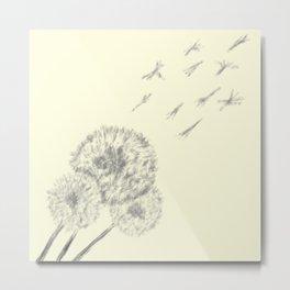 Dandelion Flurries Fly Away Metal Print