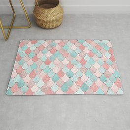 Mermaid Art, Cute, Coral and Teal, Fun Bathroom Art Rug