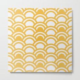 Yellow & White Half Circle Pattern Metal Print