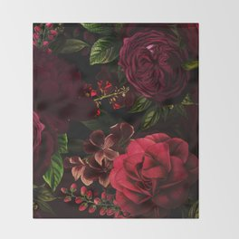 Vintage & Shabby Chic - Vintage & Shabby Chic - Mystical Night Roses Throw Blanket