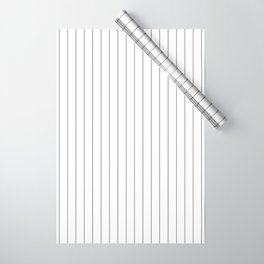White And Black Pinstripes Lines Stripes Minimalist Stripe Line Wrapping Paper