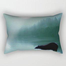 Stepping Into The Moonlight - Black Bear and Moonlit Lake Rectangular Pillow