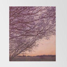 Purple Tree, Coral Orange Sky Throw Blanket