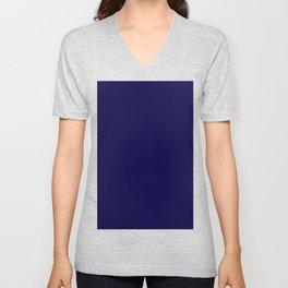 Midnight Blue Solid Color Block Unisex V-Neck