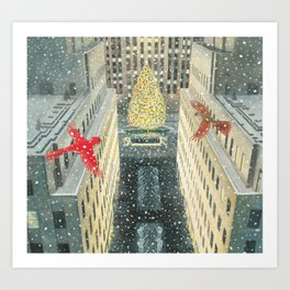 Red and Lulu and the Rockefeller Center Christmas Tree Art Print
