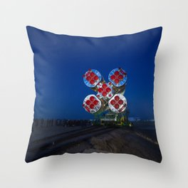 The Soyuz rocket is rolled out to the launch pad by train at the Baikonur Cosmodrome in Kazakhstan Throw Pillow